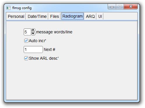 Configuring Flmsg