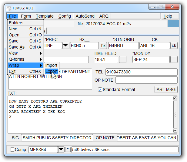 Sending Forms Using the NBEMS Software